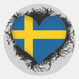 Amor Suecia del vintage I Etiquetas Redondas
