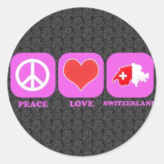 Amor Suiza de la paz Pegatina Redonda