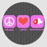 Amor Suiza de la paz Pegatinas Redondas