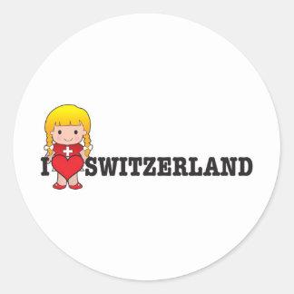 Amor Suiza Pegatina Redonda