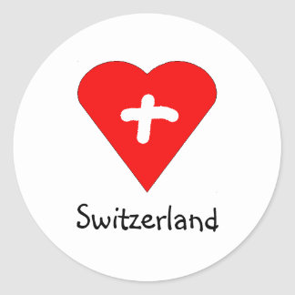 Amor Suiza - pegatina suizo del corazón