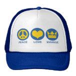 Amor Sverige de la paz Gorras