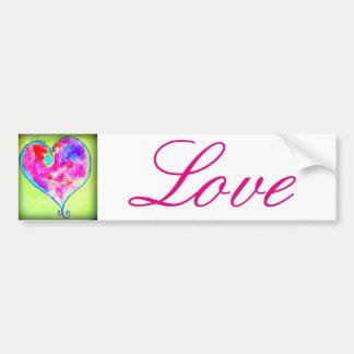 amor swirly rosado del corazón pegatina para auto