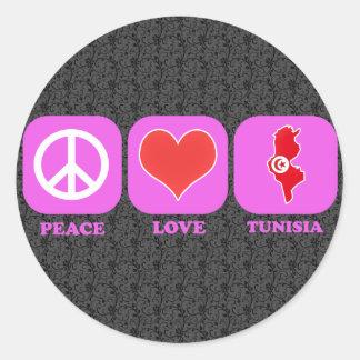 Amor Túnez de la paz Pegatina Redonda