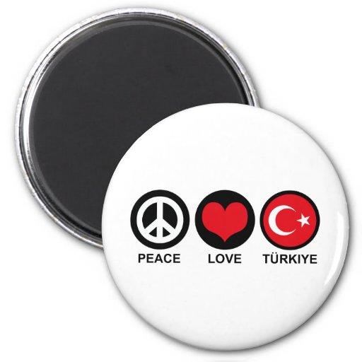 Amor Turkiye de la paz Imán De Nevera