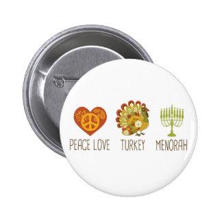 Amor Turquía Menorah de la paz Pins