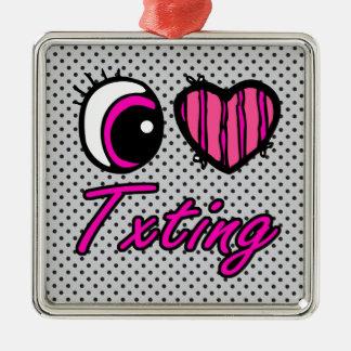 Amor Txting del corazón I del ojo de Emo Adorno Cuadrado Plateado