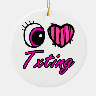 Amor Txting del corazón I del ojo de Emo Adorno Redondo De Cerámica