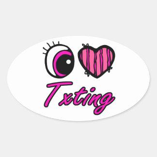 Amor Txting del corazón I del ojo de Emo Calcomania De Oval