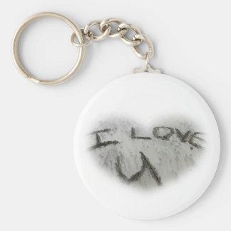 Amor U del corazón I en el llavero de la arena
