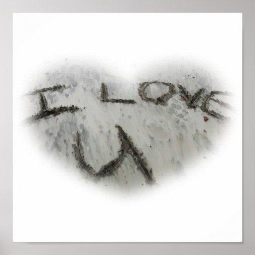 Amor U del corazón I en la impresión de la arena Poster