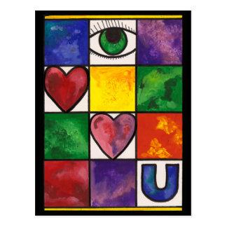 Amor U del ojo Tarjetas Postales