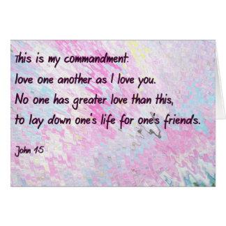 Amor uno otro como te amo tarjeta de nota