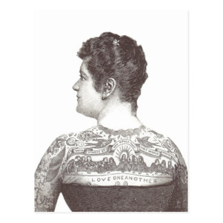 """Amor uno otro"" mujer tatuada del Victorian Postales"
