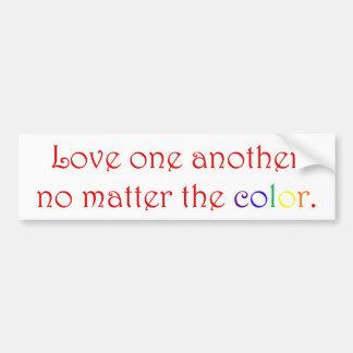 Amor uno otro (pegatina para el parachoques roja) pegatina de parachoque