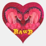 Amor-uno-saurus de Rawr Pegatina En Forma De Corazón