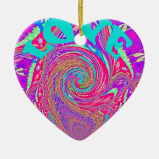 Amor usted ahorra el lov gráfico del diseño del adorno navideño de cerámica en forma de corazón