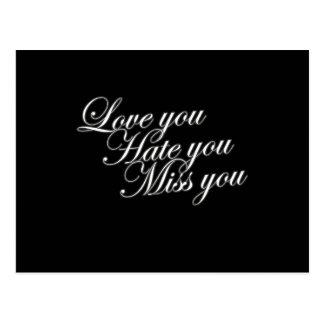 Amor usted le odia Srta. usted amor gótico Postales