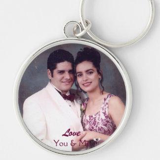 Amor, usted y yo Cadena-Personalizar dominante Llavero Redondo Plateado