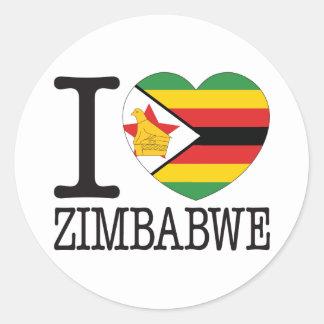 Amor v2 de Zimbabwe Etiquetas Redondas