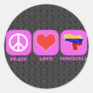 Amor Venezuela de la paz Pegatina Redonda