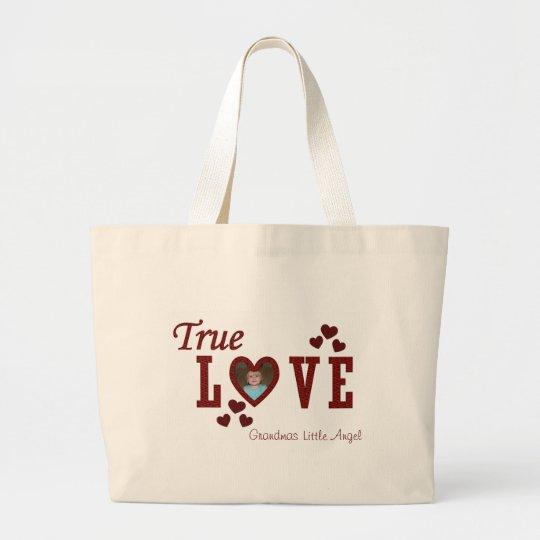 Amor verdadero bolsa de tela grande