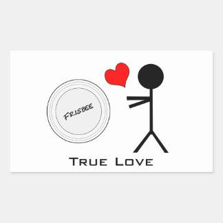 Amor verdadero del último disco volador pegatina rectangular