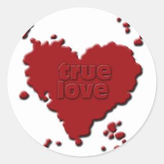 amor verdadero pegatina redonda