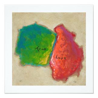 """Amor verdadero que pinta verde rojo moderno del invitación 5.25"""" x 5.25"""""""