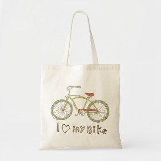 Amor verde de la bicicleta I del vintage la mi Bolsa Tela Barata