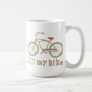 Amor verde de la bicicleta I del vintage mi taza d