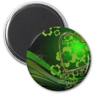 Amor verde del trébol imán redondo 5 cm