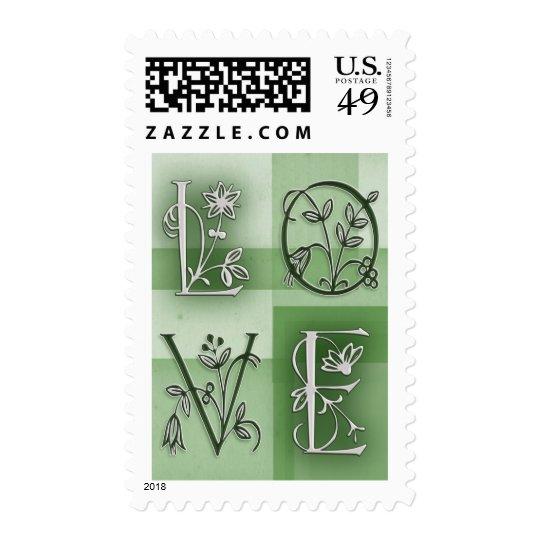 Amor verde florido sellos postales