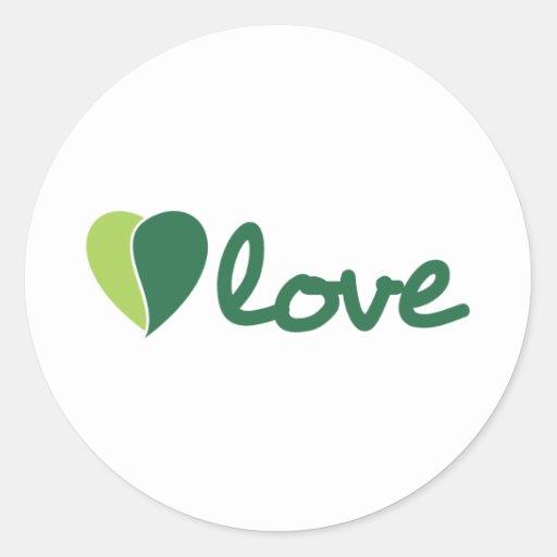 Amor verde pegatina redonda