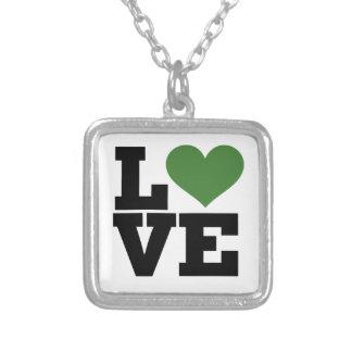 Amor verde retro colgante cuadrado
