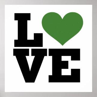 Amor verde retro póster