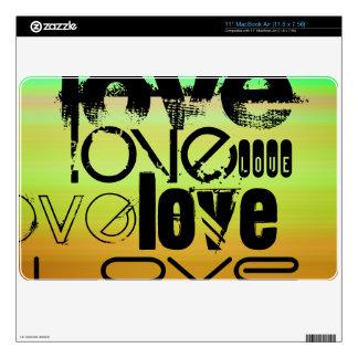 Amor; Verde vibrante, naranja, y amarillo MacBook Calcomanías