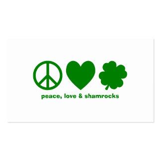 Amor verde y tréboles de la paz plantilla de tarjeta de visita
