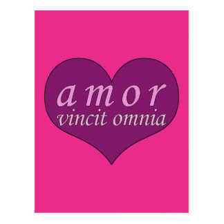 Amor Vincit Omnia Love Conquers All Valentines Day Postcard