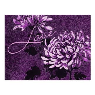 Amor: Vintage floral Tarjeta Postal