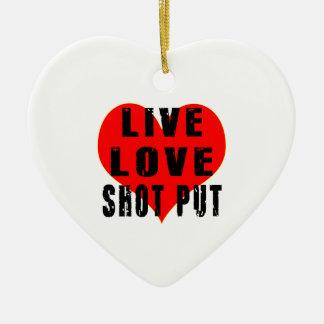 Amor vivo lanzamiento de peso adorno navideño de cerámica en forma de corazón