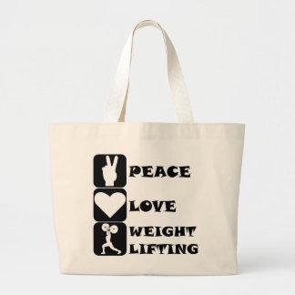 Amor Weightlifing de la paz Bolsa De Mano