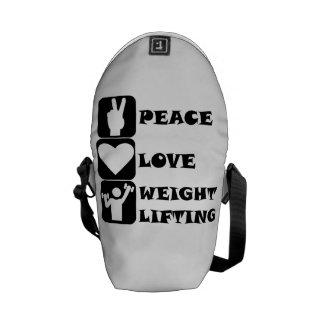 Amor Weightlifing de la paz Bolsa De Mensajeria