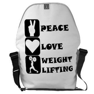Amor Weightlifing de la paz Bolsas De Mensajeria