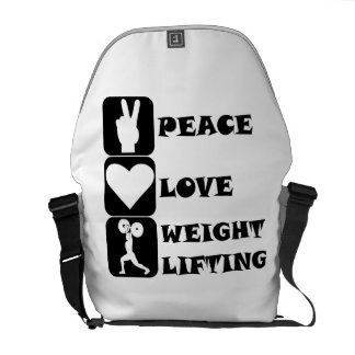 Amor Weightlifing de la paz Bolsa Messenger