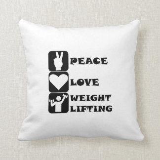 Amor Weightlifing de la paz Cojines