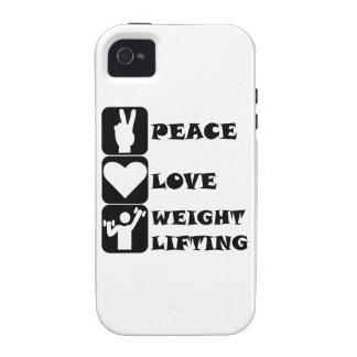 Amor Weightlifing de la paz iPhone 4 Carcasa