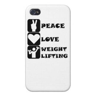 Amor Weightlifing de la paz iPhone 4 Carcasas