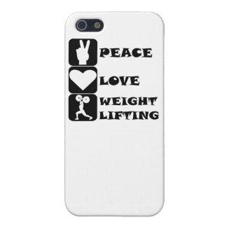Amor Weightlifing de la paz iPhone 5 Cárcasas