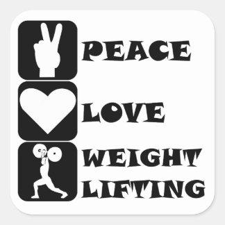 Amor Weightlifing de la paz Calcomanías Cuadradases